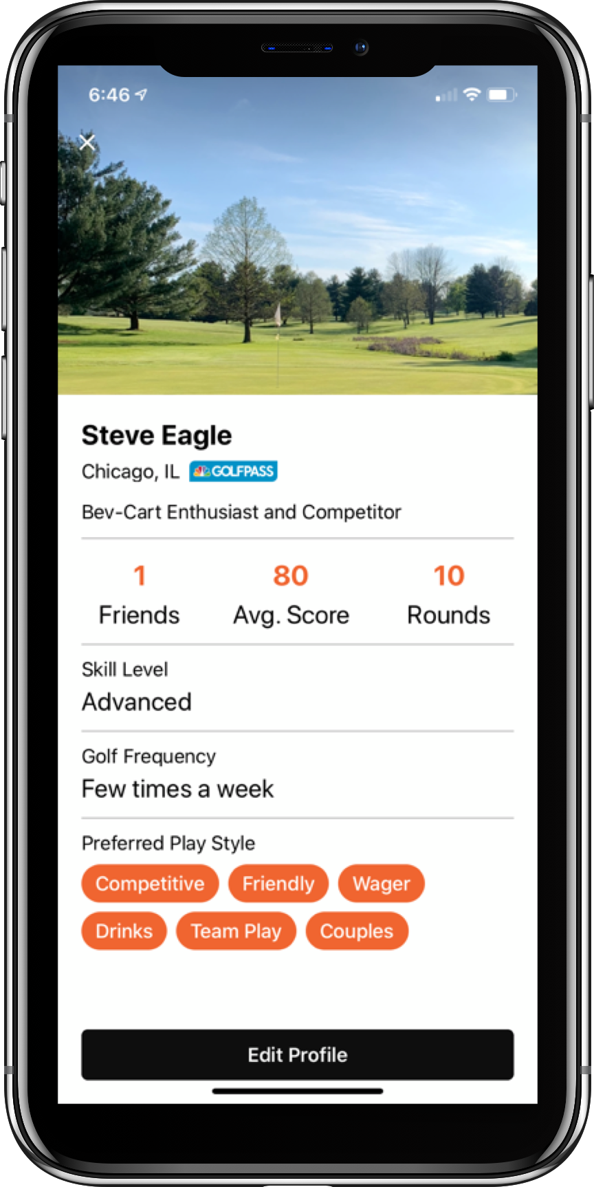 Teeoff App Profile Screen